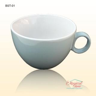 Bol supă, ceramic cu toartă decor bicolor BST-01BL