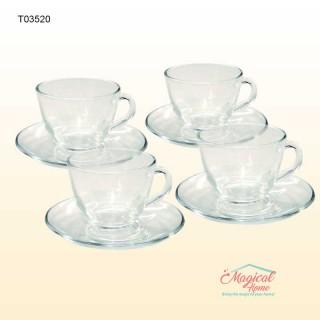 Set cafea din sticlă pentru 4 persoane Brazil T03520 Cerve