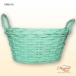 Cos decorativ din rachita impletita - oval-verde