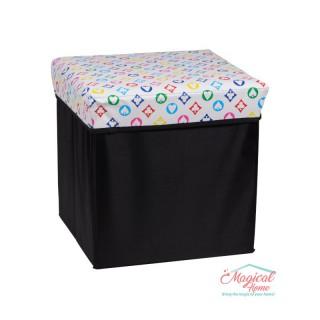 Cutie depozitare tip taburet, 30x30x30cm CD2-03 decor cărţi de joc