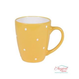 Cană ceramică decor uni cu buline S0017-03