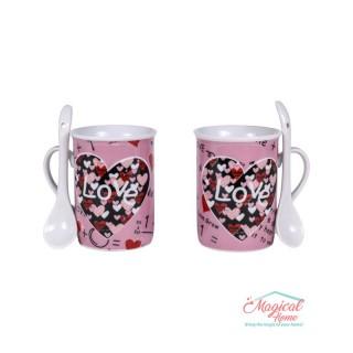 Set cafea ceramic 2 persoane, 2 căni și 2 lingurițe 050A-1