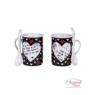 Set cafea ceramic 2 persoane, 2 căni și 2 lingurițe 050A-2