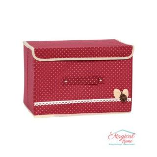 Cutie depozitare pliabilă 36x25x24cm roșu cu buline CDC4-ROSU