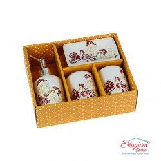 Set ceramică baie 29501-84, 4 piese, decor floral