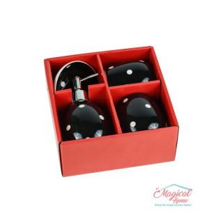 Set ceramică baie cu 4 piese SBB1-01 decor buline