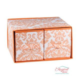 Set cutii depozitare CD6-05 portocaliu decor abstract