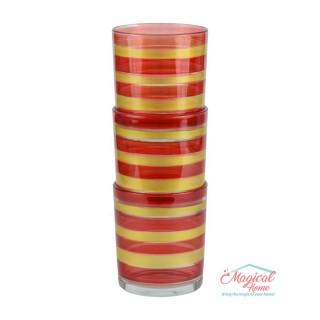 Set 3 pahare pentru apă, din sticlă, colorate 3x220 ml