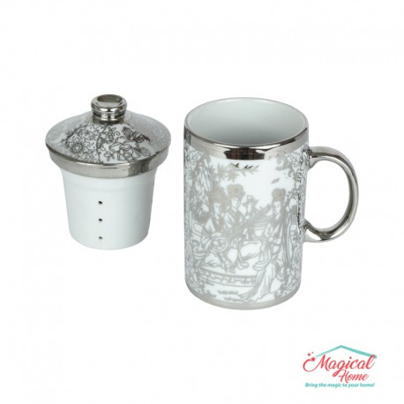 Set ceai 1 persoană 3 piese ceramică argintiu 000158