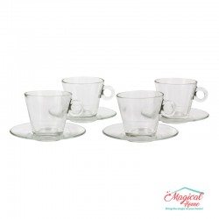 Set cafea 4 cești cu farfurioare din sticlă Nadia T05000 Cerve
