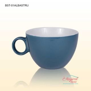 Bol supă, ceramic cu toartă decor bicolor BST-01ALBASTRU