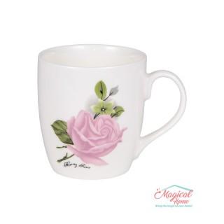Cană ceramică decor trandafir G4