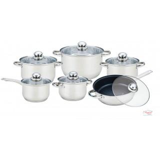 Set oale de gătit, inox, cu capace sticlă, 12 piese GR1513 GRUNBERG