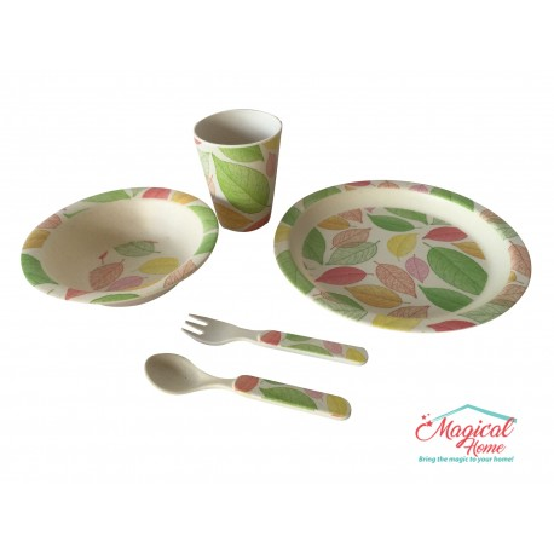 Set mic dejun pentru copii, 5 piese, material bambus