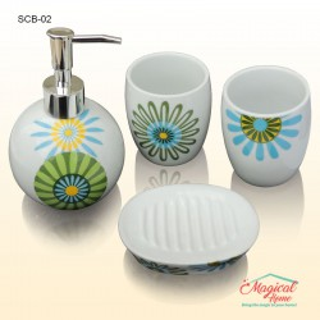 Set ceramic pentru baie cu 4 piese SCB-02, decor floral