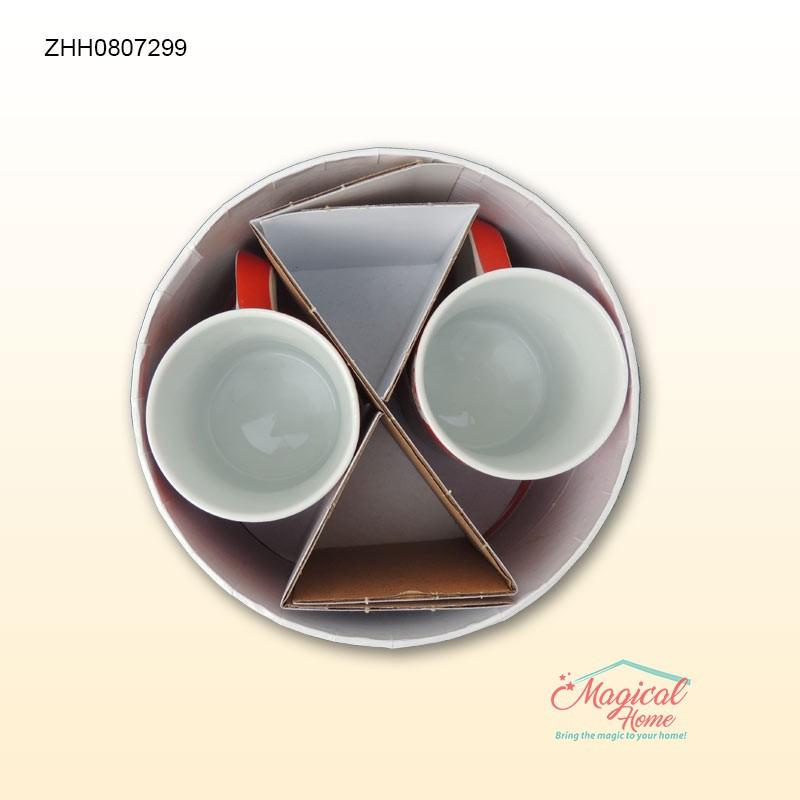 Set cafea ceramica 2 persoane decor floral ZHH0807299 mod ambalare