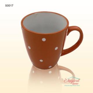Cană ceramică decor uni cu buline S0017-01