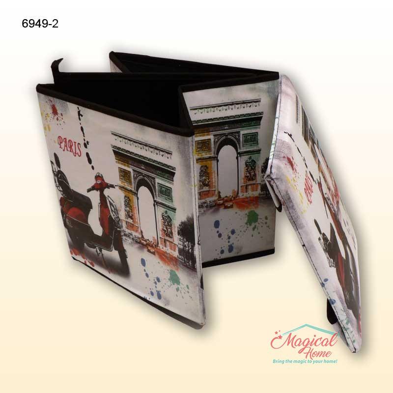 Cutie depozitare taburet 29x29x32cm 6949-2 decor vintage