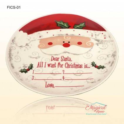 Farfurie ceramică întinsă decor Crăciun Santa FICS-01
