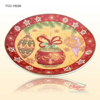 Farfurie ceramică întinsă decor Crăciun 15026