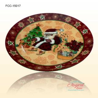 Farfurie ceramică întinsă decor Crăciun 15017